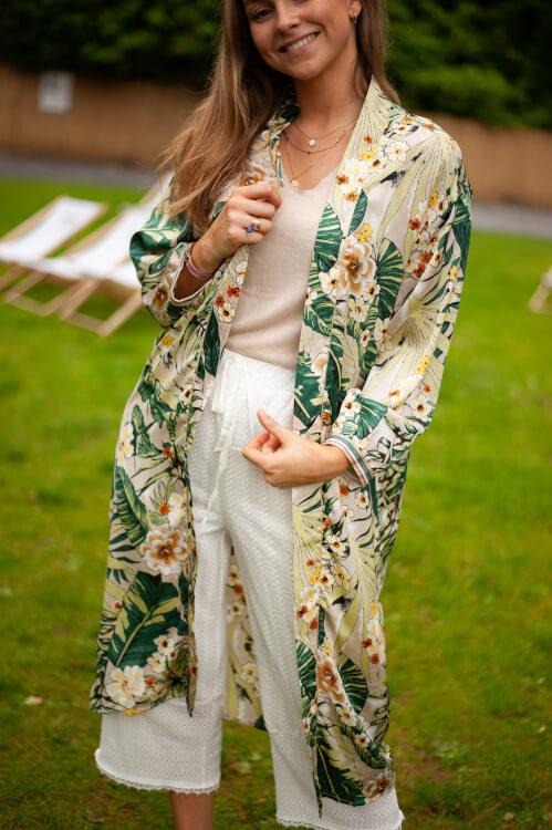 kimono tropical vert de Les Bourgeoises sur SCANDALOOK