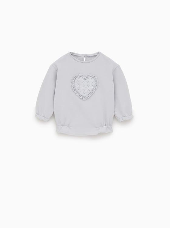 sweat a applique coeur de Zara sur SCANDALOOK