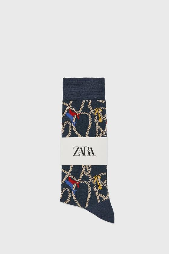 chaussettes mercerisees avec jacquard nautique de Zara sur SCANDALOOK