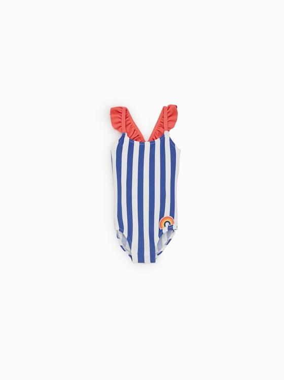 maillot de bain a rayures et arc-en-ciel de Zara sur SCANDALOOK