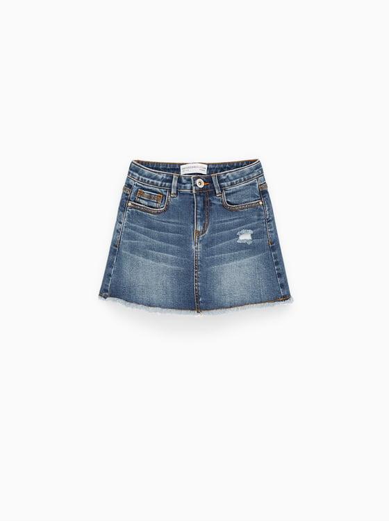 jupe en jean basique de Zara sur SCANDALOOK