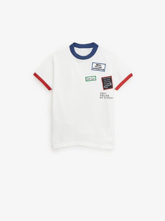 t-shirt avec contrastes et pieces de Zara sur SCANDALOOK