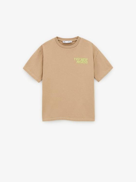 t-shirt a inscription brodee de Zara sur SCANDALOOK