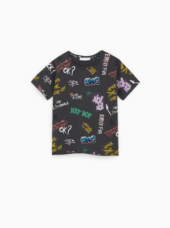 t-shirt graffitis de Zara sur SCANDALOOK