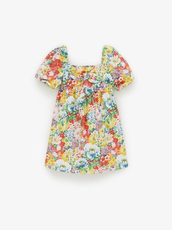 robe a fleurs et noeud de Zara sur SCANDALOOK