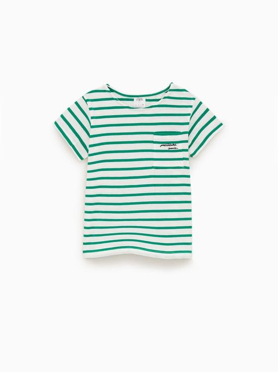 t-shirt a rayures et poche de Zara sur SCANDALOOK